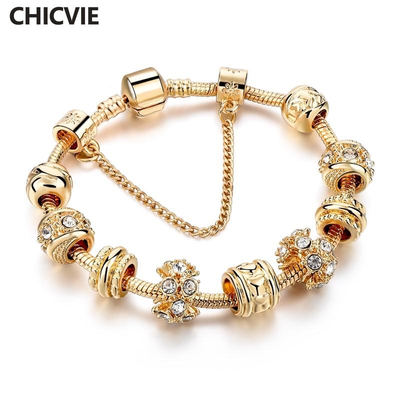 دستبند دستباف سفارشی اروپایی و آمریکایی CHICVIE و دستبند دستبند کریستالی طلای مخصوص زنان دستبند جواهرات SBR160241