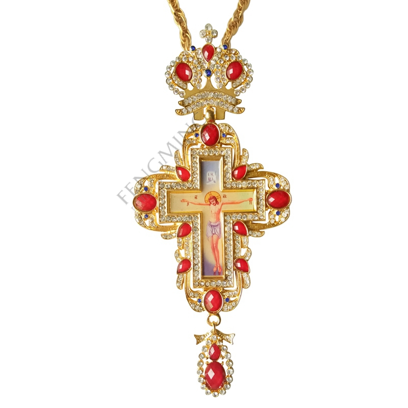 High Qualit Pectoral Cross Orthodox Jesus Crucifix Pendants Rhinestones Chain Religious Jewelry Pastor Prayer Items