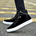 Мужской высокое качество холст высокие ботинки мужские черные досуг кружева до осени и зимы обувь zapatos hombre мужской обуви с цепи