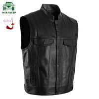 NIANJEEP Men Vest Black sleeveless Jacket Biker Motorcycle Waistcoat Male Faux Leather Punk Solid Spring Sleeveless Jacket 4XL