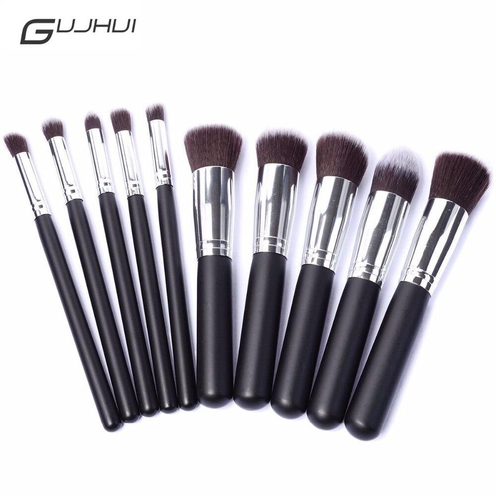 GUJHUI Professional 10Pcs Gold Pink Face Makeup Brush Set Powder Blush Contour Foundation Brush For Face Color Cosmetics Brushes 10pcs pink professional makeup brush set
