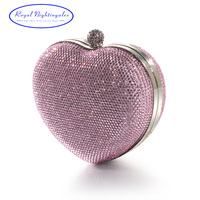 Silver Pink Heart Shape Hard Box Clutch Bag Crystal Evening Bags For Womens Party Prom Wedding