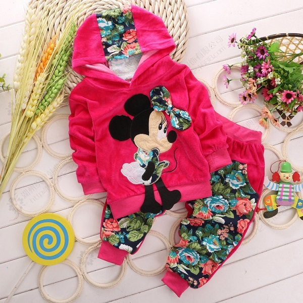 4 colors children's fashion cartoon girls clothing sets baby & kids mickey clothing set minnie children hoodies and pant 0-3 yea