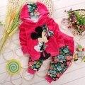 4 cores moda infantil conjuntos de roupas meninas bebê dos desenhos animados & crianças mickey conjunto de roupas minnie crianças hoodies e calça 0-3 sim