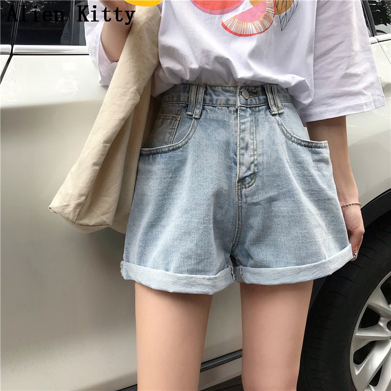 Alien Kitty Korea Chic New Summer Button Fly Pockets Casual Simple Empire Loose Solid Fresh Thin Ladies Plus Size Blue Short
