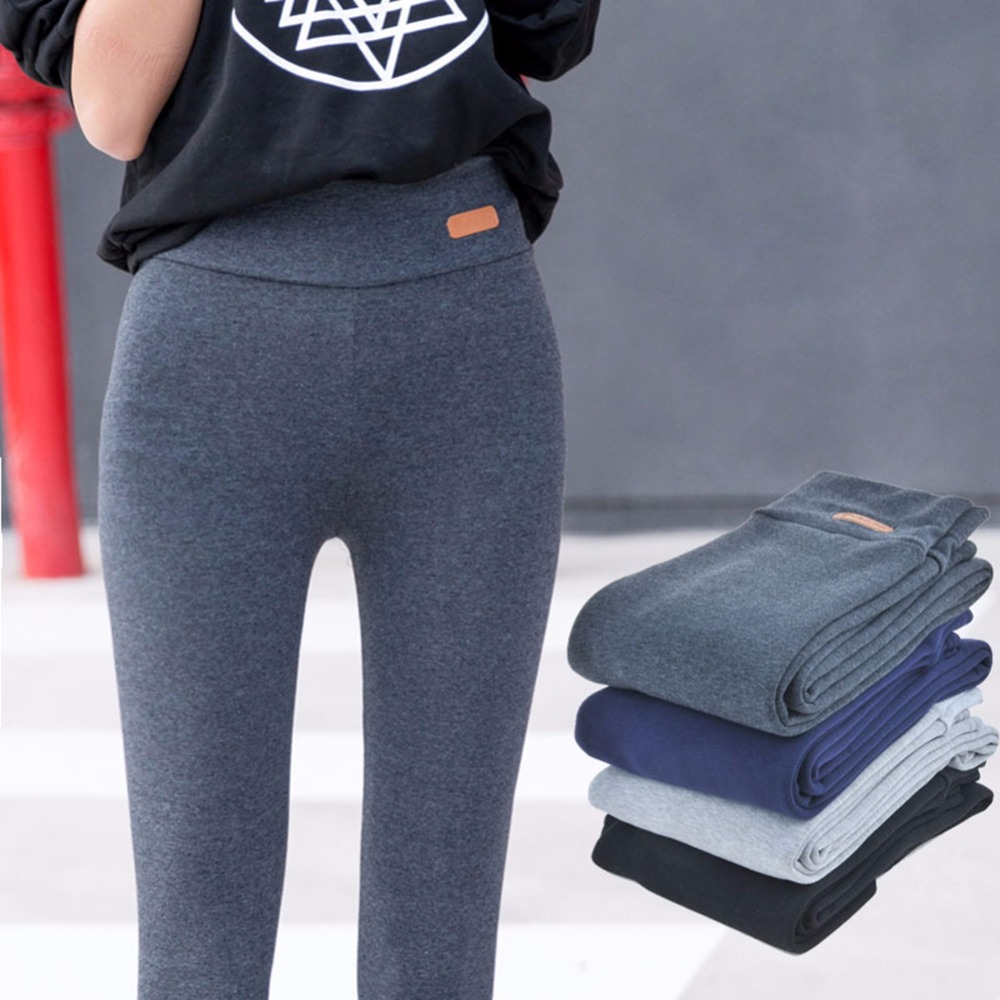 Hot Cotton Spring High Waist   leggings   Trousers Large size Black Gray Dark Blue Pencil Slim skinny pants   Legging   for Women Lady