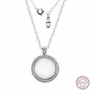 Image 4 - Colliers et pendentifs de médaillon flottant étincelant en argent Sterling 925 bijoux avec verre en cristal saphir et clair CZ FLN041