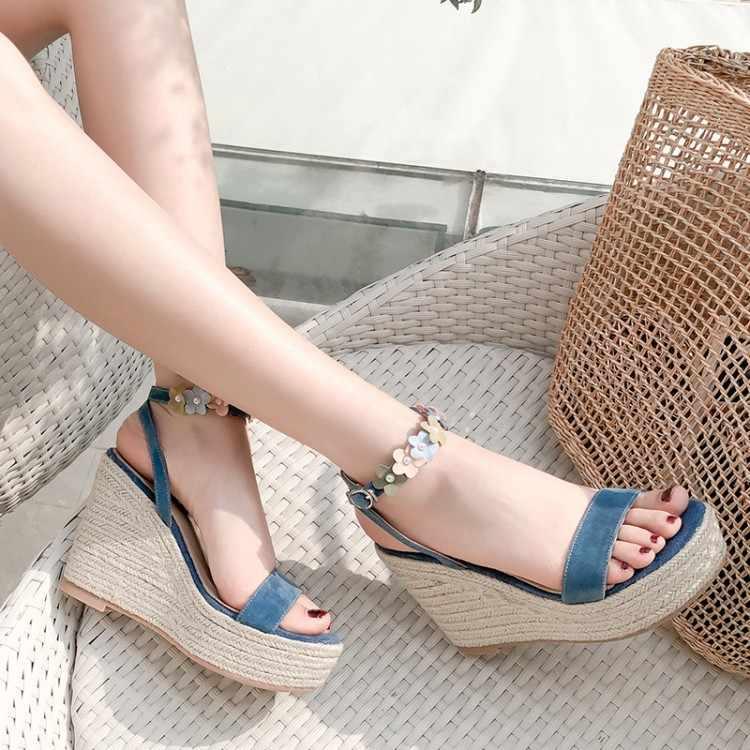 Große Größe 12 keile schuhe für frauen sandalen frauen schuhe frau damen sommer Hang ferse blume fee wind sandalen