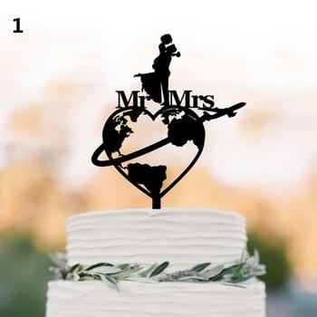 Welt Karte Hochzeit Kuchen Topper, Mr und Mrs Reise Welt Karte Hochzeit Kuchen Topper, neue Design Welt Karte mit Paare Kuchen Dekor