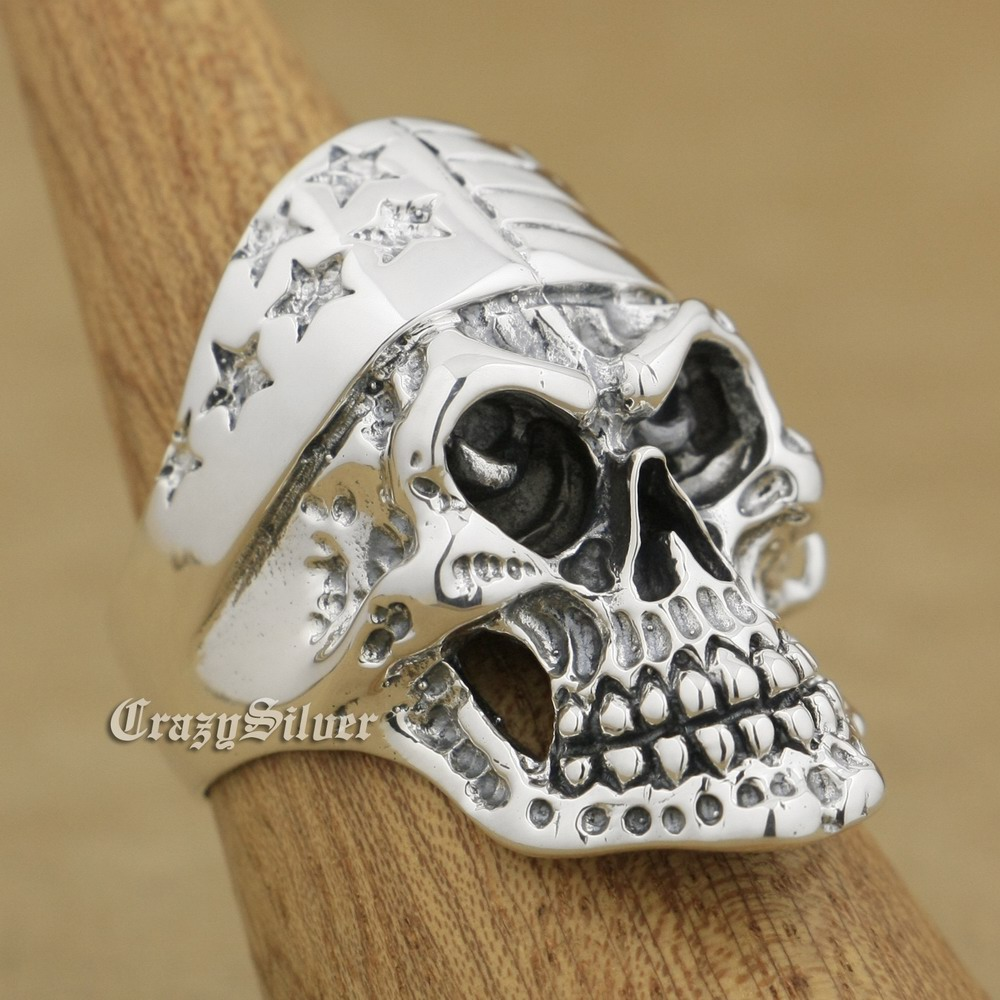 925 Sterling Silver Star Skull Mens Biker Rocker Punk Ring 9W027 US Size 8 ~ 14 r003 skull shaped titanium steel ring black silver us size 8