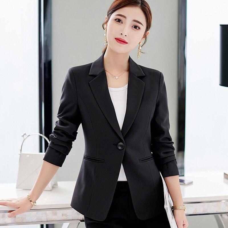 Flight Tracker 2019 Solid Womens Blazers Coat Spring Autumn Long Sleeve Business Jacket Coat Black Pink Slim Fit Ladies Work Ol Suit Tops Blue Blazers