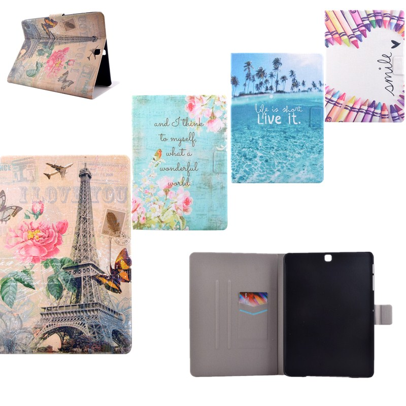 Fashion Flower Tower Patterns Lightweight Wallet Flip PU Leather Cases For Samsung Galaxy Tab S2 9.7 Tablet SM-T815 /T810 Covers
