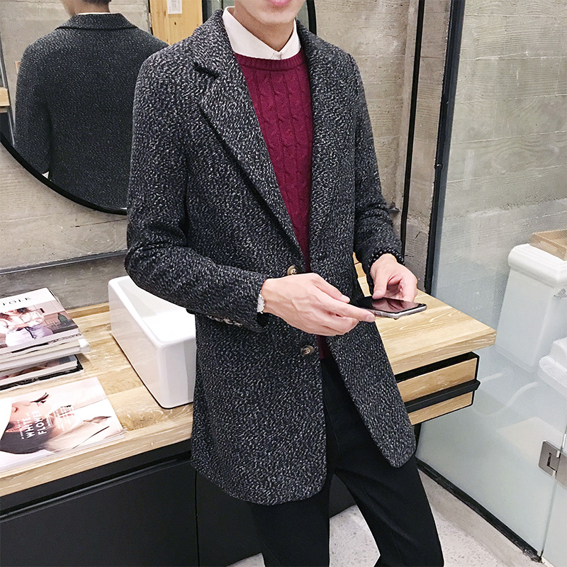 2019 New , Men's Winter Fashion Long   Trench   Coat, High Quality Casual Jacket   Trench   , Brand Single-breasted Men's Wool Coat male
