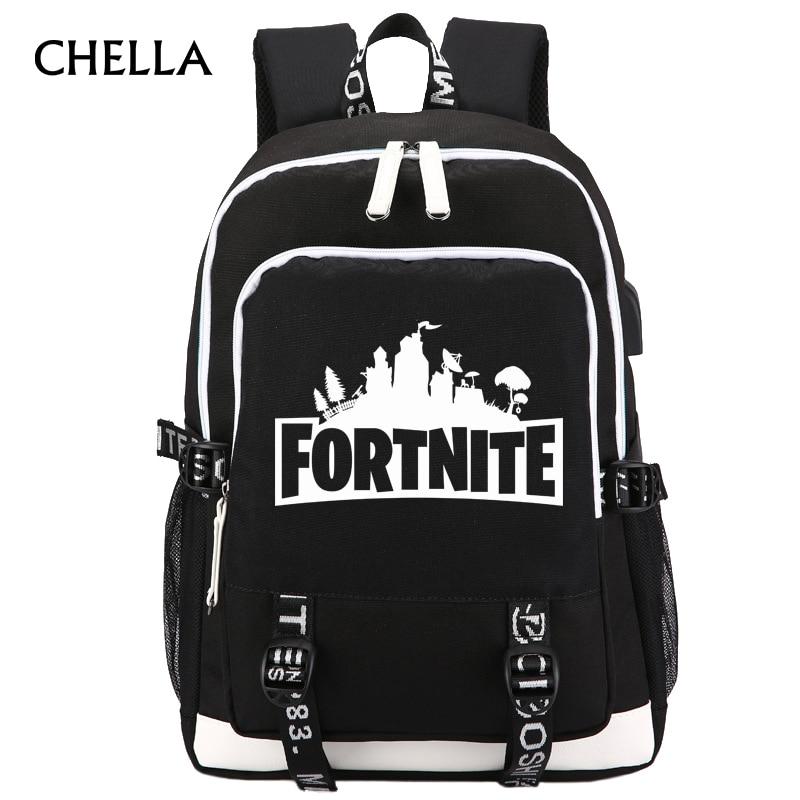 Fortnite Backpack USB Charging Men Women Travel Backpacks Boys Girls Royale School Bag Headphone Jack Teenager Laptop BP0236 все цены