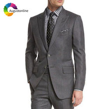 Latest Coat Pants Designs Grey Men Suits for Business Best Man Blazer Slim Fit Groom Tuxedo Jacket 2 Piece Costume Homme