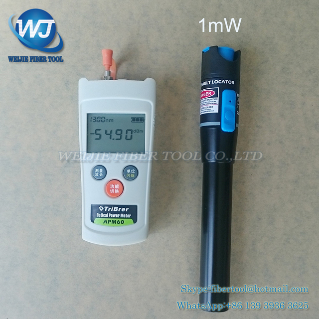 Mini 2 In 1 FTTH Fiber Optic Tool Kit Fiber Optical Power Meter -70+10dBm and 5km 1mW Visual Fault Locator Fiber optic test pen