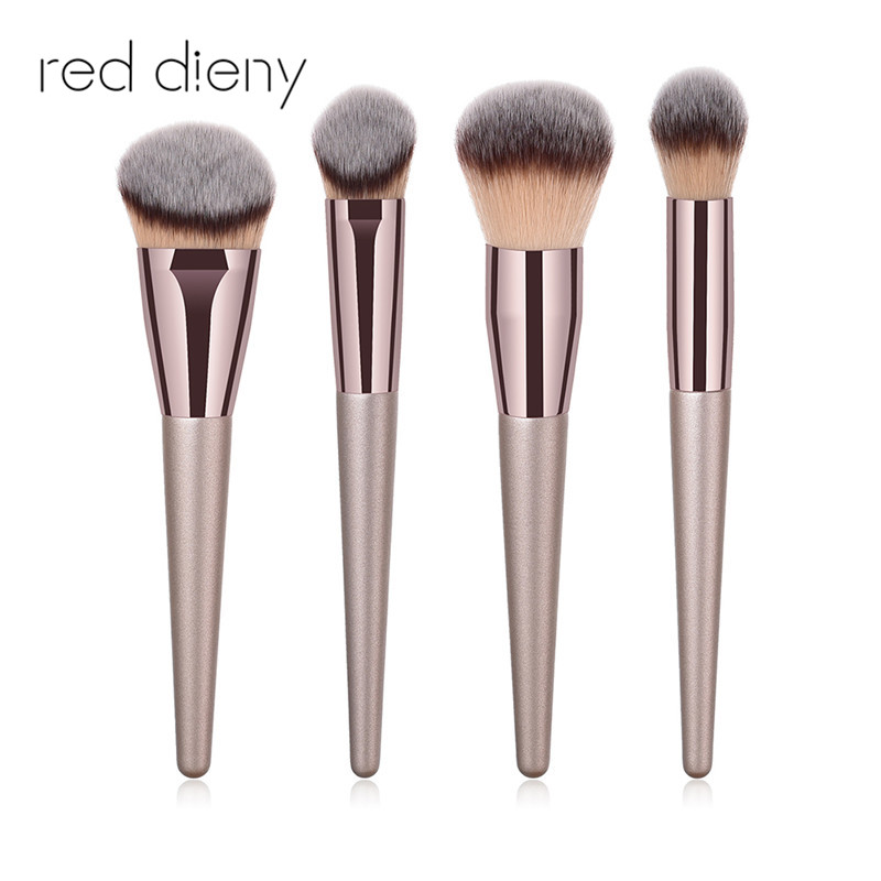Champagne Gold Powder Blush Brush Pro 4 Pcs Soft Face Make Up Brush Large Cosmetics Makeup Brushes Foundation Make Up Tool
