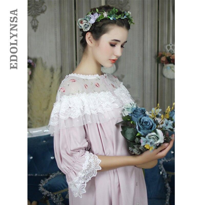 e34f953389 Vintage Princess Nightgown Long Cotton Lace Slash Ruffle Night Dress Plus  Size Women Autumn LoungeWear Nightwear