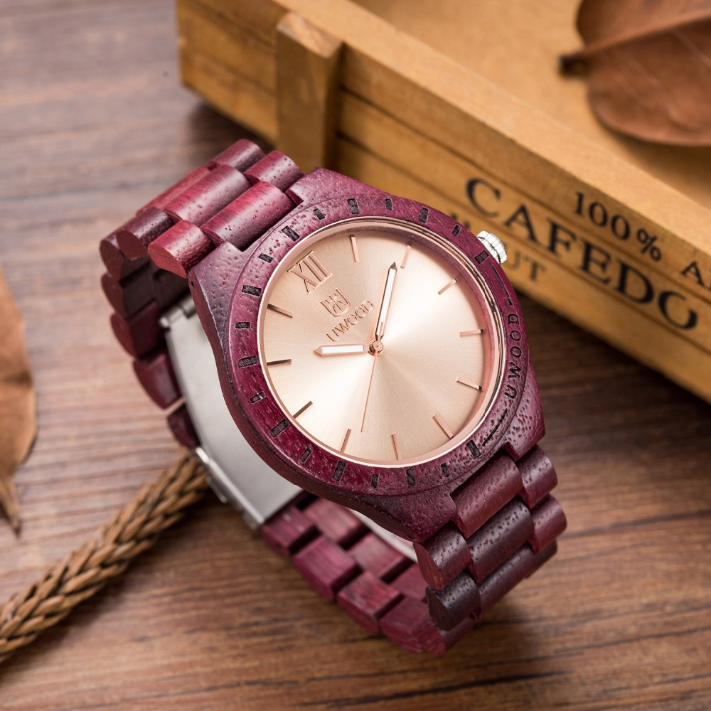 18 Hot Sell Men Dress Watch QUartz UWOOD Mens Wooden Watch Wood Wrist Watches men Natural Calendar Display Bangle Gift Relogio 17