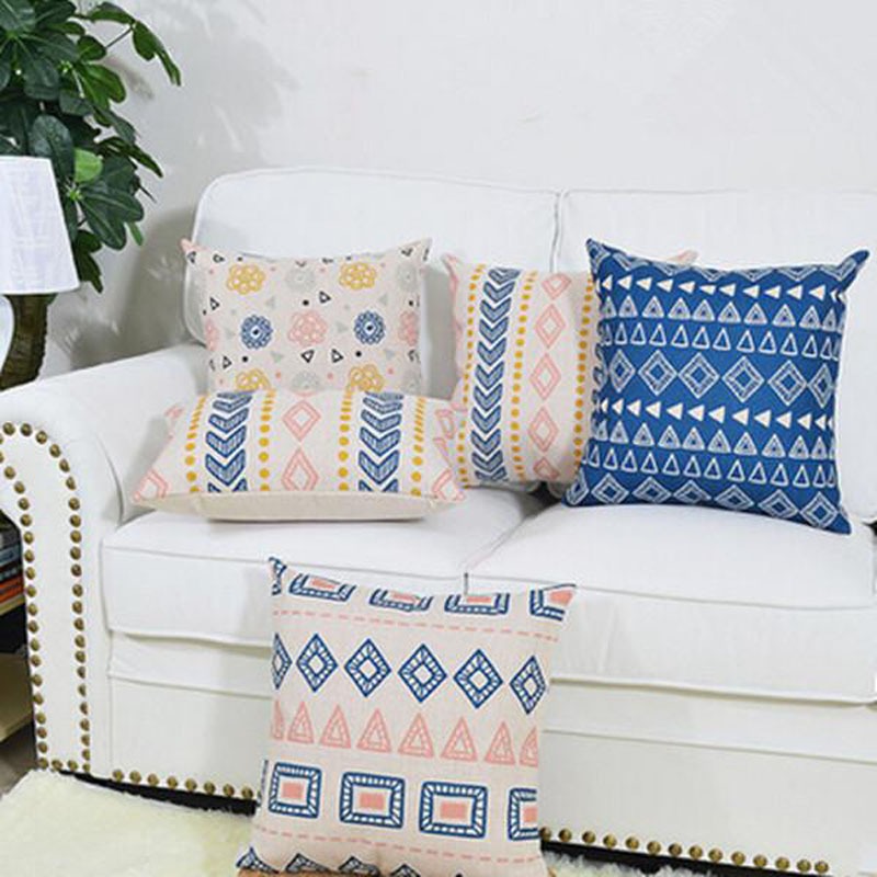 Simple Vintage Bohemian Style Pillowcase Pillow Cover Chair Seat 45x45 Cotton Linen Square Cushion Cover Home Living Textile