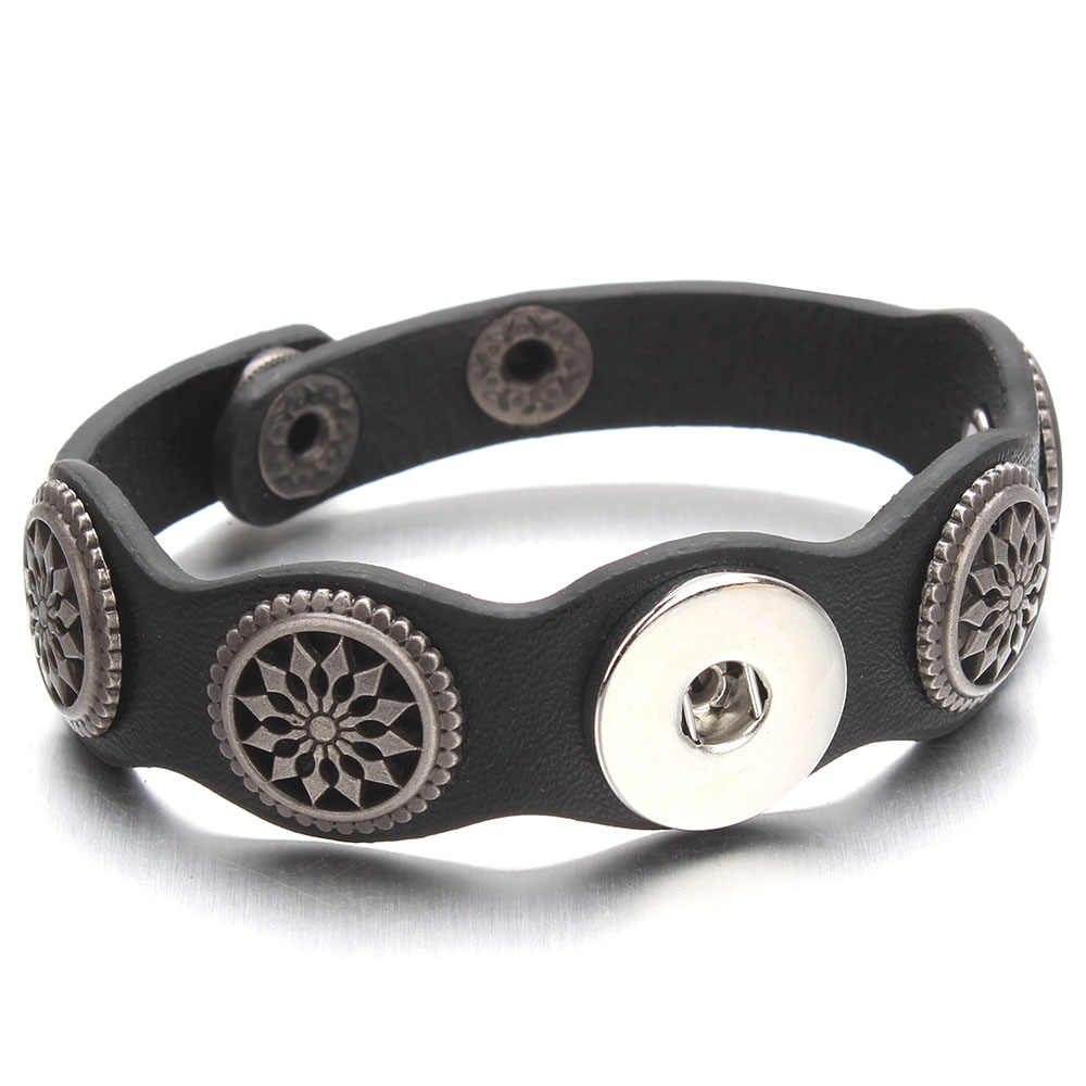 Adjustable Snap Bracelet Vintage Metal Leather Bracelet Fit 18mm Snap Button Bracelet For Men Jewelry Watch Belt ZE520
