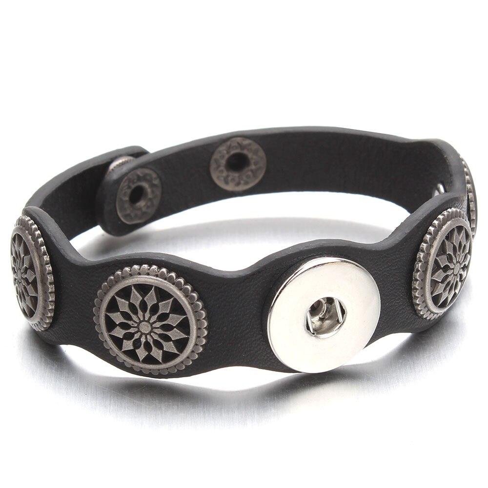 Adjustable Snap Bracelet Vintage Metal Leather Bracelet Fit 18mm Snap Button Bracelet For Men Jewelry Watch Belt ZE520 Браслет