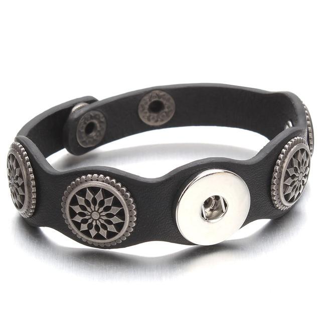 Adjustable Snap Bracelet Vintage Metal Leather Bracelet Fit 18mm Snap Button Bracelet For Men Jewelry Watch Belt ZE520