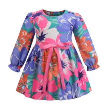 Long Sleeve Baby Girl Dress Floral Print Toddler Girls Dresses 2019 Spring Summer Autumn  Girl Clothing Children Dresses 2-8T toddler girl floral dress ladybird pattern print little girl fashion a line summer dress children spring fall princess clothing