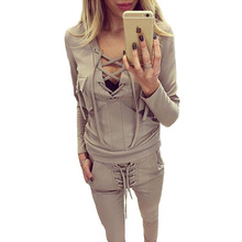 Sporting Suit Patchwork 2 Pieces Sets Women 2017 Spring Female Sexy Ribbon Hollow Tops And Pants set Femme Sportswear Suits