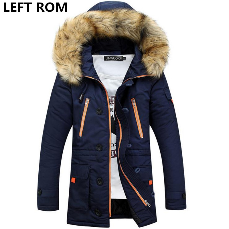 LEFT ROM 2018 new mens thick warm winter coat long fur collar army green men parka Fleece cotton coat jackets parka men ...