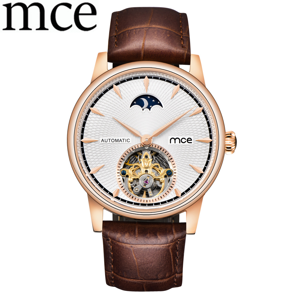 лучшая цена MCE Leather Band Men Wrist Watch Men Business Watch Casual Men Skeleton Automatic Mechanical Watches Relogio Masculino