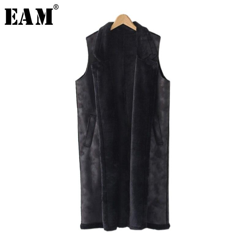 [EAM] 2018 осень зима сплошной цвет Turn-Down Воротник без рукавов пальто Мода Новый женский два кармана держать теплый длинный жилет LA935