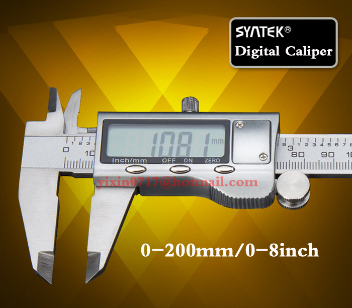 free shipping digital vernier caliper stainless steel 200mm 8inch LCD display micrometer with depthometer household font