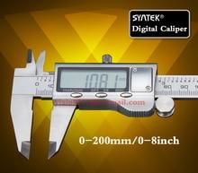 Envío libre digital vernier caliper acero inoxidable 200mm/8 inch pantalla LCD micrómetro con depthometer hogar caja de herramientas