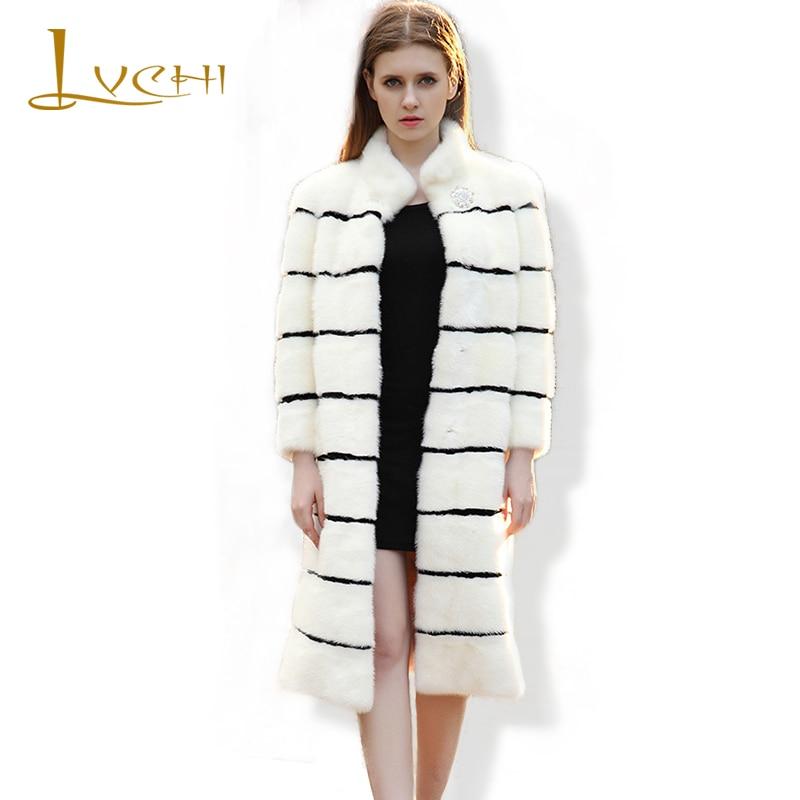 LVCHI Brand 2019 pravá kožešina dámská bunda skutečné kožichy pro ženy kožich kožich kožený kabát pruhovaný diamanty norek kabát