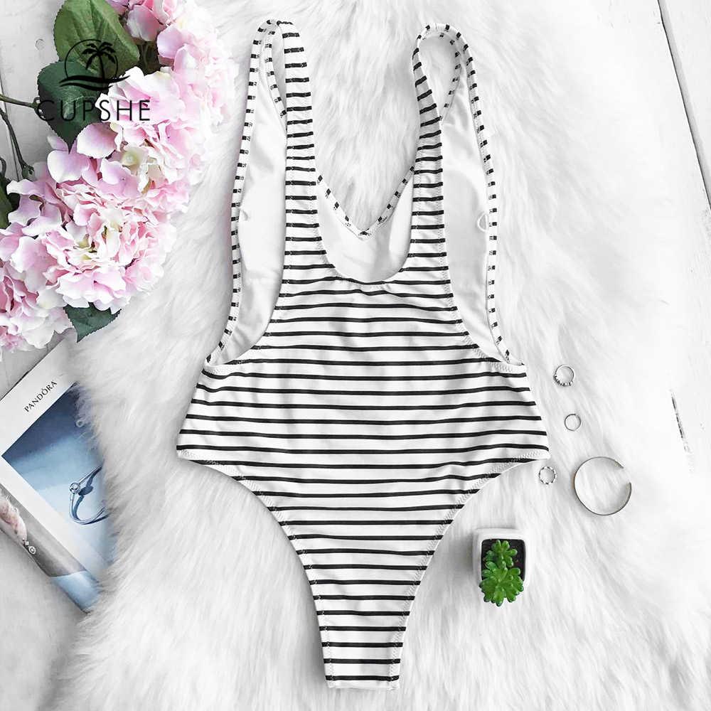 CUPSHE bonheur est vérité plongeant une pièce maillot de bain femmes rayure profonde col en V Monokini 2020 dames rembourré maillot de bain maillots de bain