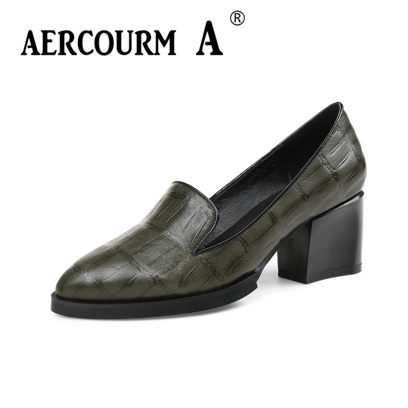 Aercourm A 2018 New Women Black Green Dress Shoes Ladies Genuine Leather Solid Shoes Square Heel Women Pumps Brand Shoes MLD3051 aercourm a 2018 new women genuine leather shoes ladies white pink dress solid shoes thin heel women pointed head pumps fde1121