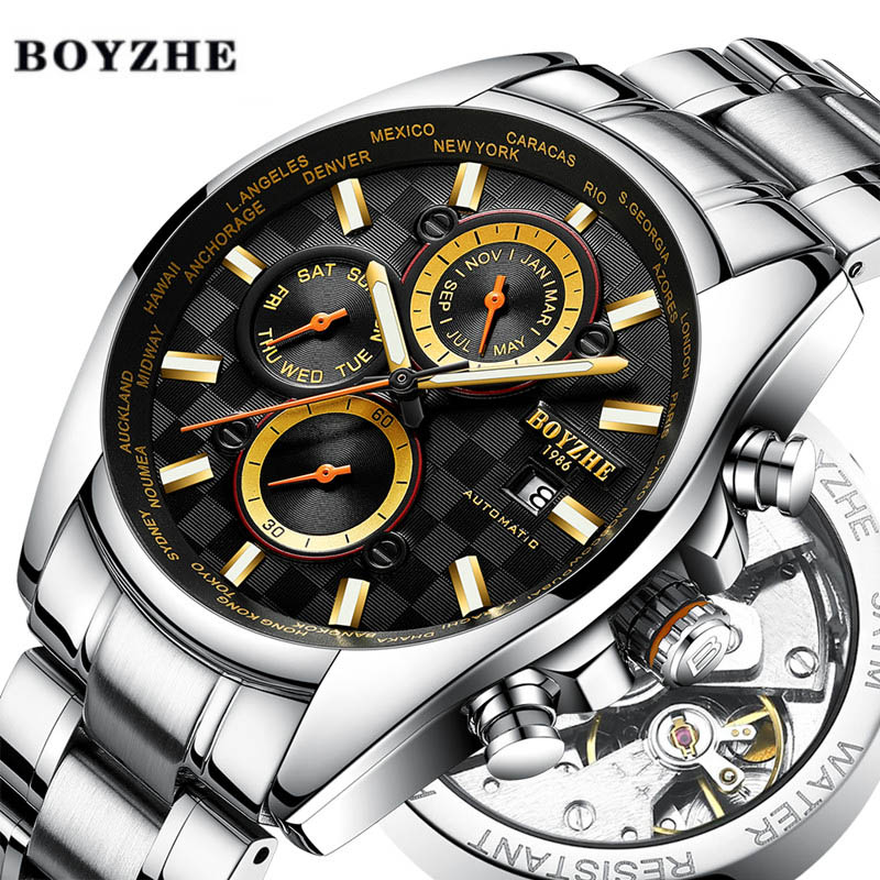 Watch Men Automatic Mechanical Watches Waterproof Sport Luxury Mens Casual Fashion Stainless Steel Watches Relogio Masculino