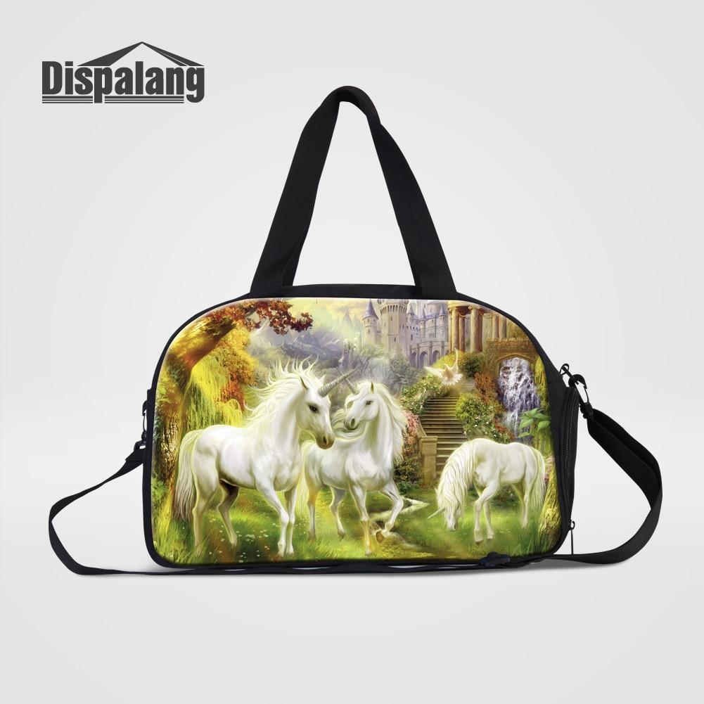 Dispalang Cute Unicorn Women's Travel Duffle Bags With Shoes Pocket Animal Horse Printing Overnight Bag Men Portable Duffel Bags