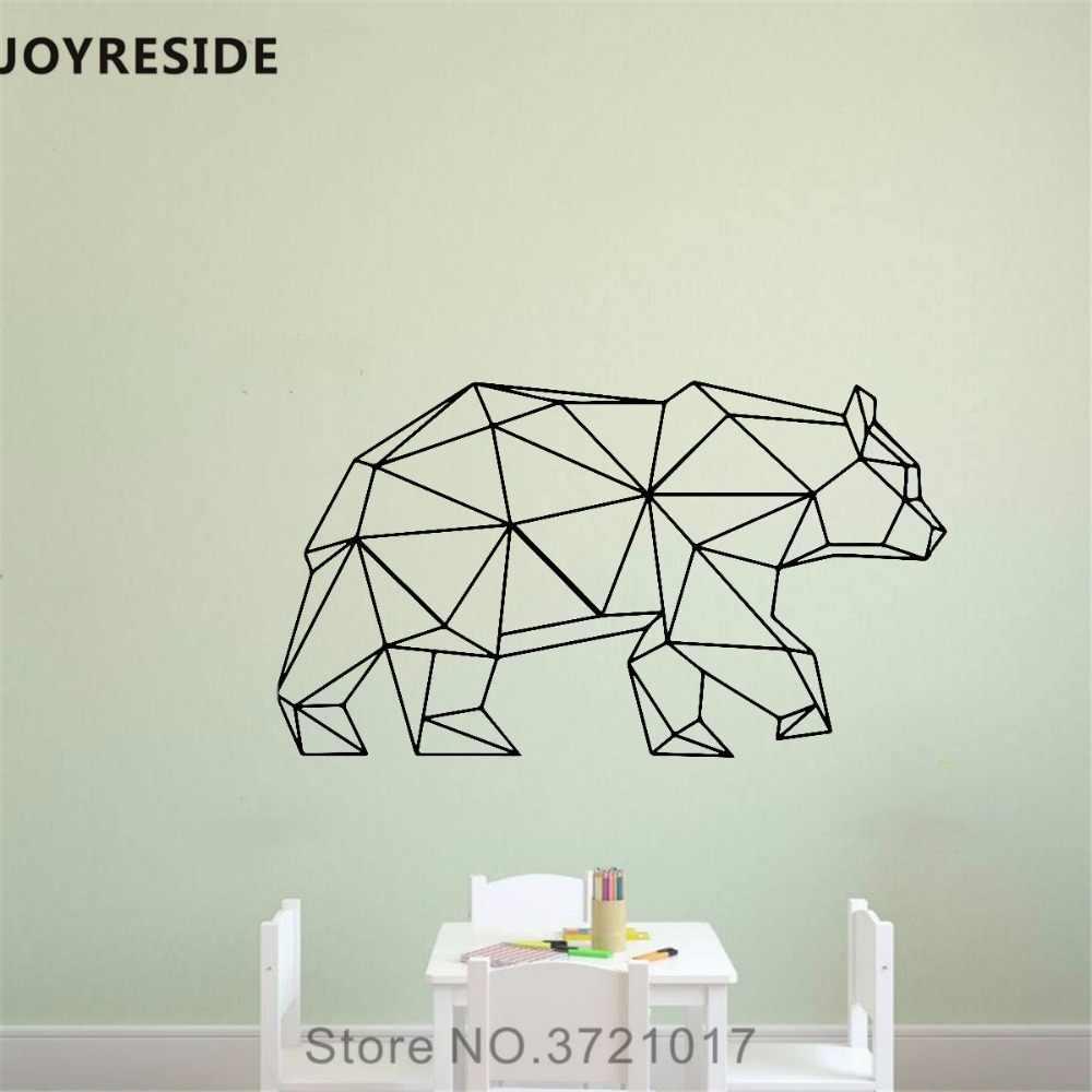 Joyreside Walking Bear Wall Decal Bear Outline Wall Sticker Geometric Vinyl Decor Home Kids Bedroom Decor Interior Design A859 Wall Stickers Aliexpress