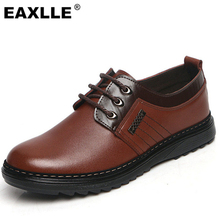 2017 Brand New Men Casual Shoes Genuine Leather Lace UP Brown/Black Dress Shoes Men Flats Zapatos Non-Slip Resistant Men Shoes