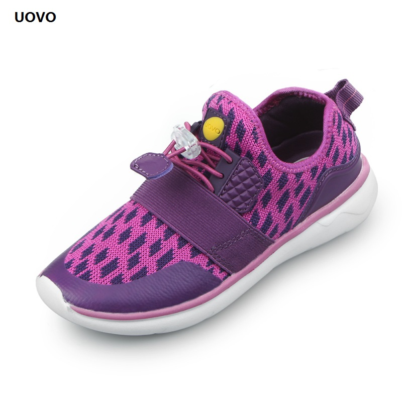 все цены на UOVO High Quality Kids Shoes For Girl Plaid Mesh Breathable Shoe Boy Autumn Sneakers Fashion Sport Children Casual Students Shoe онлайн