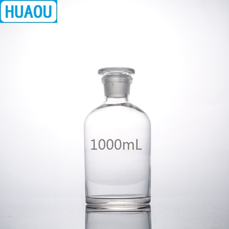 HUAOU 1000mL Narrow Mouth Reagent Bottle 1L Transparent Clear Glass With Ground In Glass Stopper Laboratory Chemistry Equipment