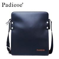 Padieoe Top grain Cow leather Handbag high quality Genuine Leather men shoulder messenger bag black blue male business Handbags