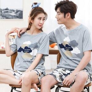 Image 2 - Serin yaz pamuk çift Pijama seti kısa severler Pijama erkekler & kadınlar Pijama Pijama eğlence ev giyim