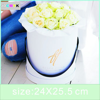 florist bouquet packing gift flowers box pure color round cardboard paper boxes four color can be choose.wedding party gift box