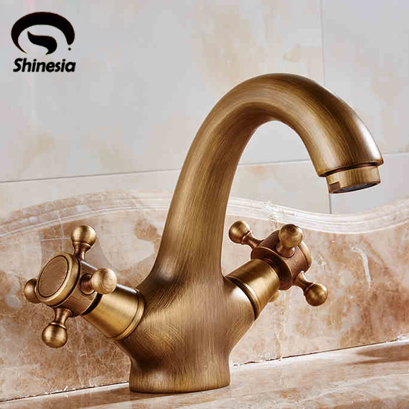 Free shipping Antique Brass Bathroom Sink Faucet Basin Mixer Tap Double Cross Head Handle Single Hole Hot and Cold Water цена и фото