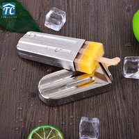 Frozen Stainless Steel Popsicle Molds Ice Cream Stick Holder 6 Silver Home DIY Moulds Flat Pop Mould Fruit Juice Freezer