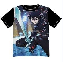 Free Shipping Anime Manga Sword Art Online T-shirt Krito Women Men Cosplay T Shirt Black Mesh Tee 002