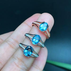 Image 4 - [MeiBaPJ]Classic Big Natural London Blue Topaz Gemstone Ring for Women Real 925 Sterling Silver Fine Jewelry